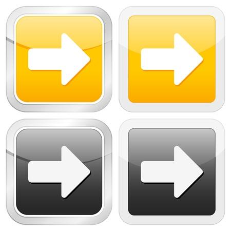 arrow right: freccia icona quadrata giusto impostato su sfondo bianco. Illustrazione vettoriale.