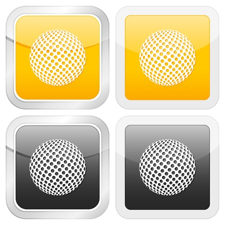 square icon golf ball set on white background. Vector illustration.