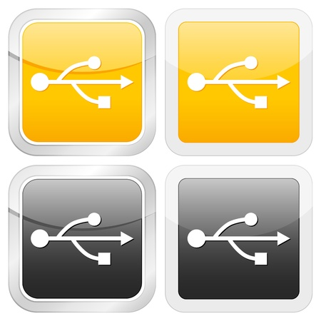 square icon usb set on white background. Vector illustration. Stock Vector - 9827216