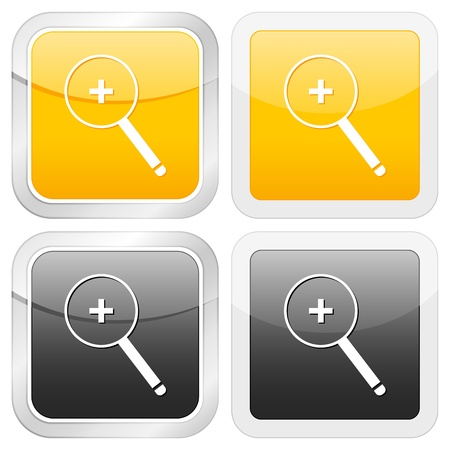 zoom in: square icon zoom in set on white background. Vector illustration. Illustration