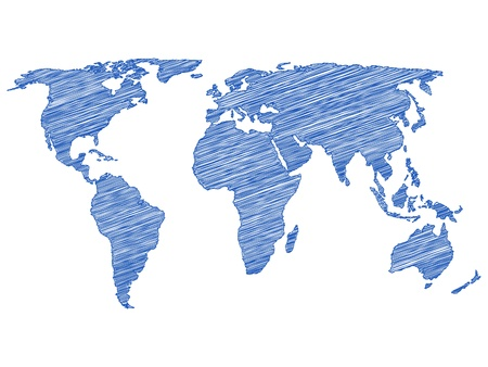 world map vector: Drawing world map on a white background. Vector illustration.