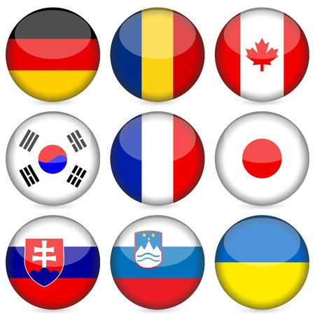 slovakia flag: Circle national flag icon set. Vector illustration.