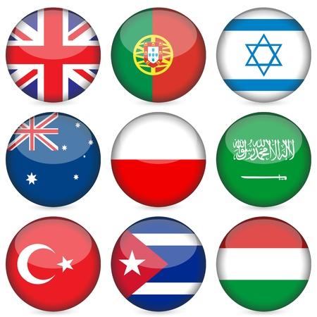 bandera cuba: Conjunto de iconos de bandera nacional de c�rculo. Ilustraci�n vectorial. Vectores