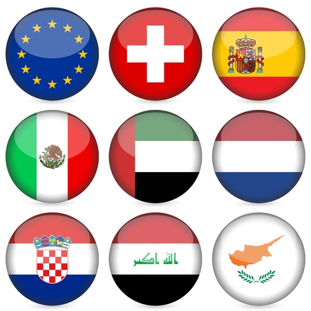 Circle national flag icon set. Vector illustration. Vector