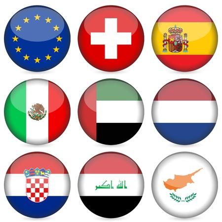 flag croatia: Conjunto de iconos de bandera nacional de c�rculo. Ilustraci�n vectorial. Vectores
