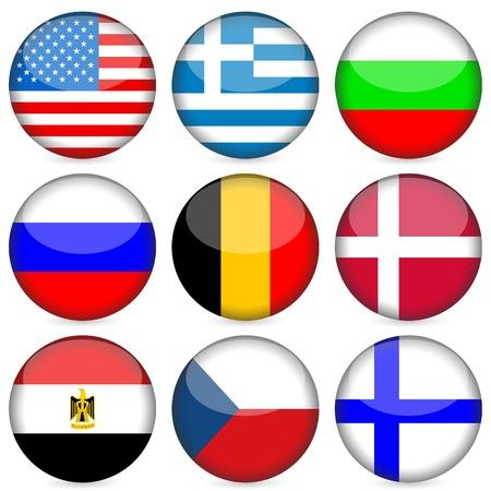 Circle national flag icon set. Vector illustration. Vector