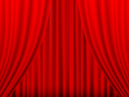 Close view of a red curtain. Vector illustration. Stock Vector - 9930983