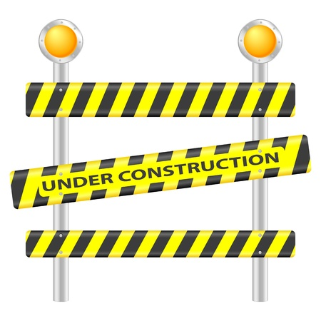 fouten: Under construction teken op een witte achtergrond. Vector illustratie.