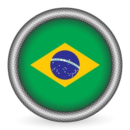 Brazil flag button  Vector