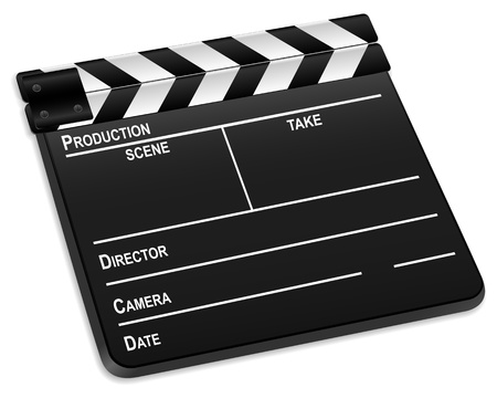 3d film slate isolated on a white background.  Vector
