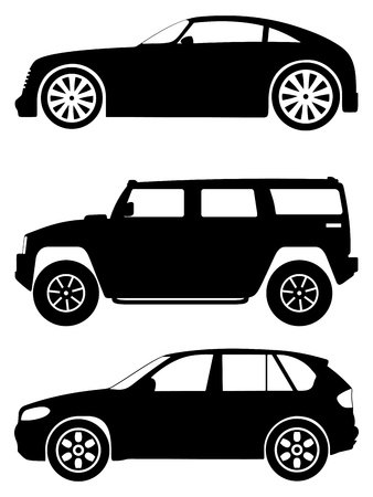 Silhouette cars on a white background. Stock Vector - 10131968