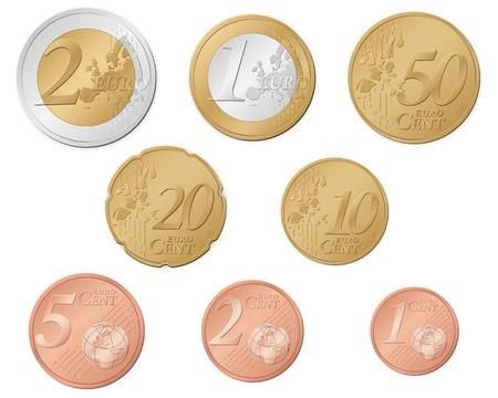 Euro coins set isolated on a white background.  Illustration