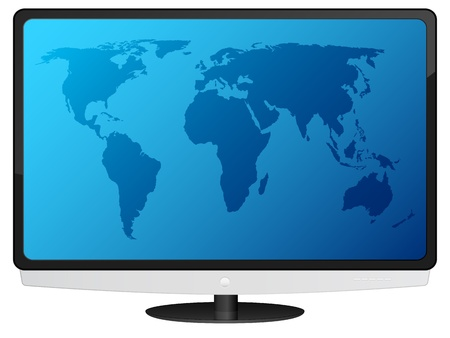 Lcd tv with blue world map.  Vector