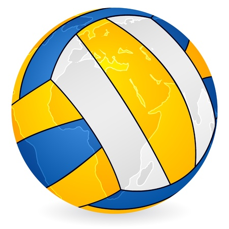 World map volleyball ball on a white background. Vector