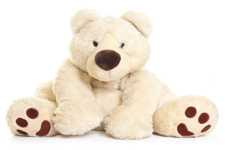 plush toys: Teddy bear toy isolated on a white background. Stock Photo