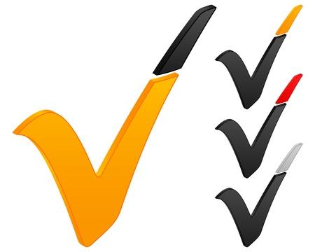 check icon: Icono de verificaci�n sobre un fondo blanco. Ilustraci�n vectorial. Vectores