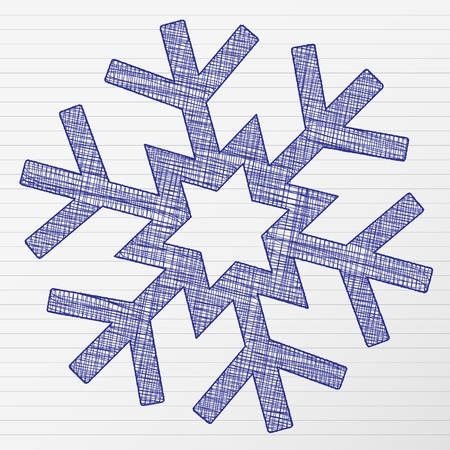 Scratch winter snowflake on a notebook sheet.
