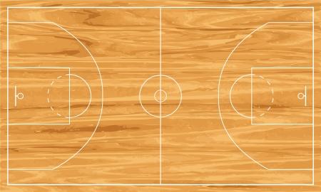 Cancha de baloncesto de madera. Ilustración de vector