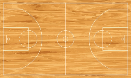 Wooden basketball court. Vetores