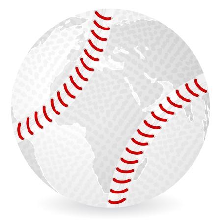 homerun: World map baseball ball on a white background.