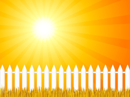 White wooden fence and grass under dramatic sky. Vector illustration. Vector