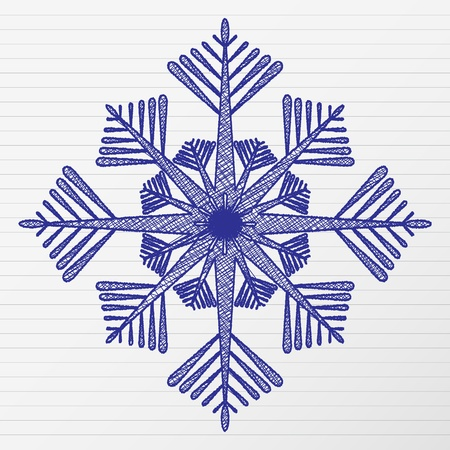 Scratch winter snowflake on a notebook sheet. Vector illustration. Stock Vector - 10699381