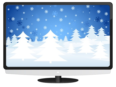 lcd tv with winter landscape. Vector illustration. Stock Vector - 10699376