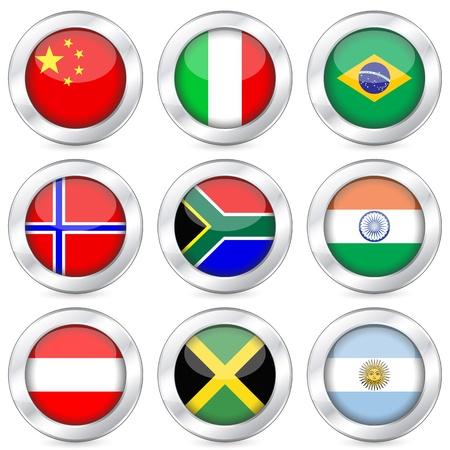 bandera argentina: Botón de la bandera nacional sobre un fondo blanco. Ilustración vectorial. Vectores