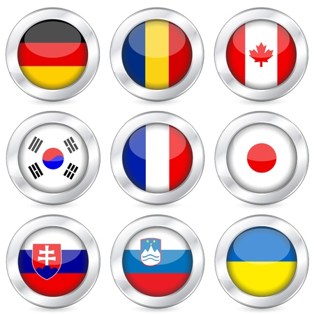 romania: National flag button set on a white background. Vector illustration.