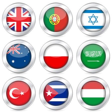poland flag: National flag button set on a white background. Vector illustration.