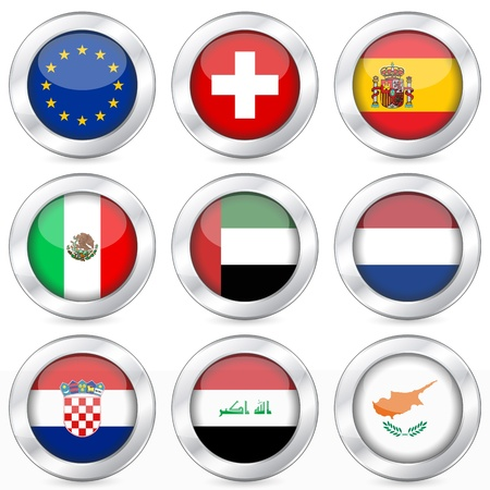 National flag button set on a white background. Vector illustration. Vector