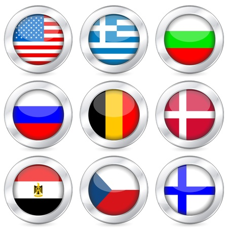 finland flag: National flag button set on a white background. Vector illustration.