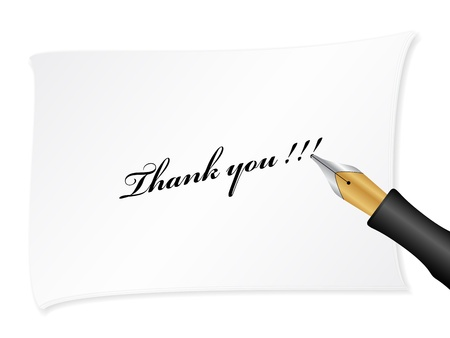 White note with text (thank you). Vector illustration. Vector