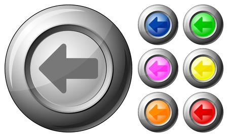 Sphere button arrow left set on a white background. Vector illustration. Stock Vector - 10767259