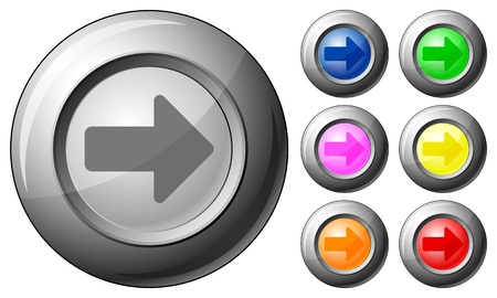 Sphere button arrow right set on a white background. Vector illustration. Stock Vector - 10767261