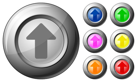 Sphere button arrow up set on a white background. Vector illustration. Stock Vector - 10767260