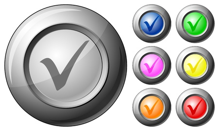 Sphere button check symbol set on a white background. Vector illustration. Stock Vector - 10767263