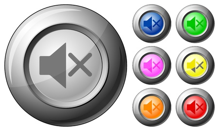 Sphere button mute set on a white background. Vector illustration. Stock Vector - 10767272