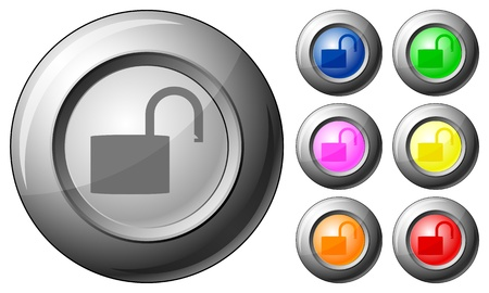 Sphere button padlock open set on a white background. Vector illustration. Stock Vector - 10767292