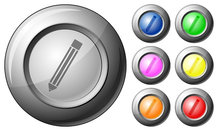 Sphere button pencil set on a white background. Vector illustration. Stock Vector - 10767268