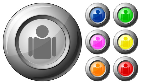Sphere button person set on a white background. Vector illustration. Stock Vector - 10767273