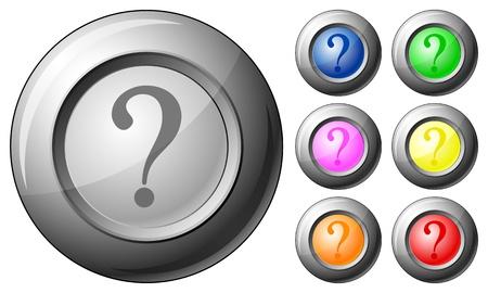 interrogative: Sphere button question set on a white background. Vector illustration.