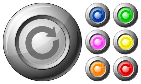 Sphere button reload set on a white background. Vector illustration. Stock Vector - 10767271