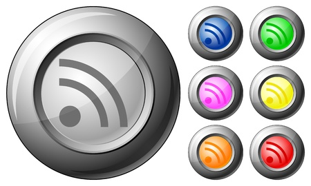 Sphere button RSS set on a white background. Vector illustration. Stock Vector - 10767264