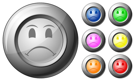 Sphere button sad face set on a white background. Vector illustration. Vector