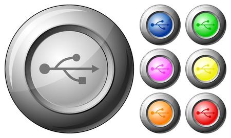 Sphere button USB set on a white background. Vector illustration. Illustration