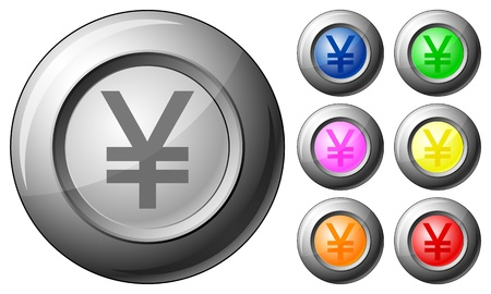 Sphere button yen set on a white background. Vector illustration. Stock Vector - 10767255