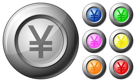 Sphere button yen set on a white background. Vector illustration. Stock Vector - 10767255