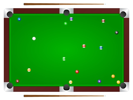 Pool table with balls and cue. Vector illustration. Vector