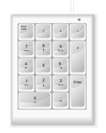 White computer numeric keyboard. Vector illustration. Stock Vector - 10854616